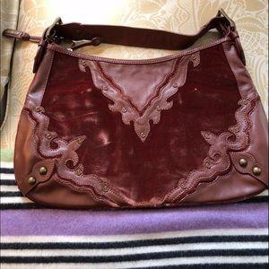 Isabella Fiore Velvet Brown Leather Bag